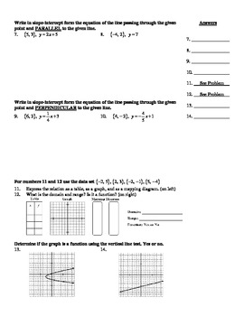 """Holt Algebra Chapter 5B """"Linear Functions"""" + Ch 4 Practice Test - DOC & PDF"""