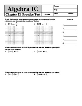 """Holt Algebra Chapter 5B """"Linear Functions"""" + Ch 4 Practice"""