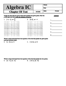 """Holt Algebra Chapter 5B """"Linear Functions"""" + Ch 4 Test - D"""