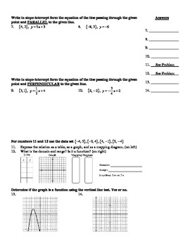 "Holt Algebra Chapter 5B ""Linear Functions"" Test(c) - DOC & PDF"