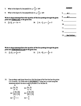 Holt Algebra Chapter 5B Quiz (5.6-5.7) - DOC & PDF