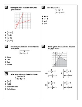 "Holt Algebra Ch. 6 ""Systems of Equations & Inequalities"" Practice Test - DOC&PDF"