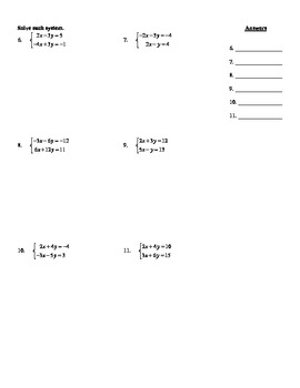 """Holt Algebra Chapter 6 """"Systems of Equations & Inequalities"""" Test - DOC & PDF"""