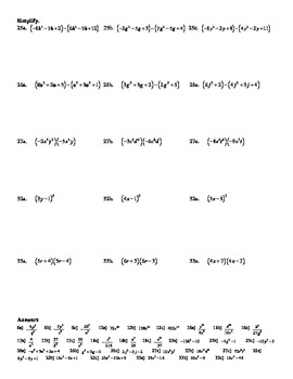 """Holt Algebra Chapter 7 """"Exponents & Polynomials"""" Most Missed Questions DOC & PDF"""