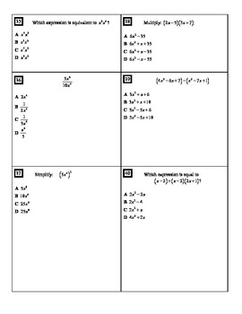 "Holt Algebra Chapter 7 ""Exponents and Polynomials"" Test(c) - DOC & PDF"