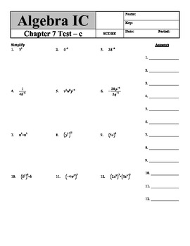 """Holt Algebra Chapter 7 """"Exponents and Polynomials"""" Test(c)"""