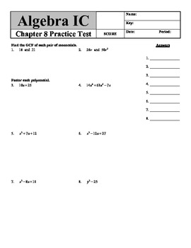 "Holt Algebra Chapter 8 ""Factoring Polynomials"" Practice Test - DOC & PDF"