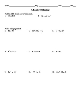 Holt Algebra Chapter 8 Factoring Polynomials Review Worksheet