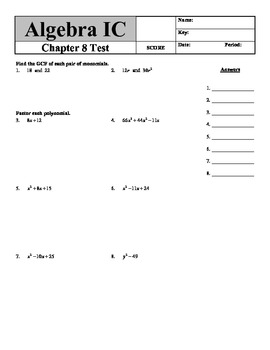 "Holt Algebra Chapter 8 ""Factoring Polynomials"" Test - DOC & PDF"