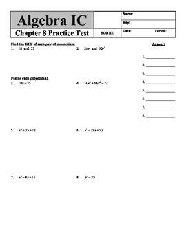 Holt Algebra Chapter 8 Worksheet Bundle (3 Tests, 1 Quiz, 3 Worksheets)
