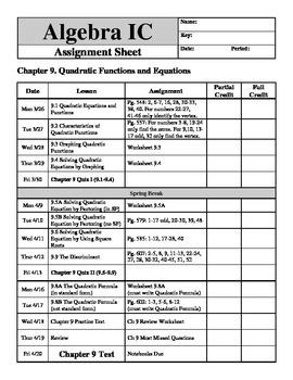 "Holt Algebra Chapter 9 ""Quadratic Functions & Equations"" Assignment Sheet"