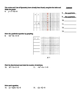 "Holt Algebra Chapter 9 ""Quadratic Functions & Equations"" Practice Test - DOC&PDF"