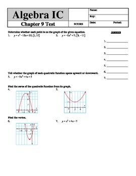 """Holt Algebra Chapter 9 """"Quadratic Functions & Equations"""" Test - DOC & PDF"""
