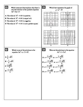 """Holt Algebra Chapter 9 """"Quadratic Functions & Equations"""" Test(c) - DOC & PDF"""