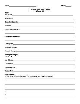 15 Holt American Anthem Chapter 15 Life at the Turn of the Century  Homework