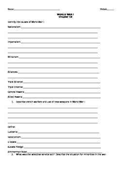 18 Holt American Anthem Chapter 18 World War I Homework