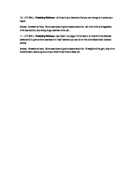 """Holt- """"Lifetime Health""""- questions and answers, unit 1,chapter 1, section 1"""