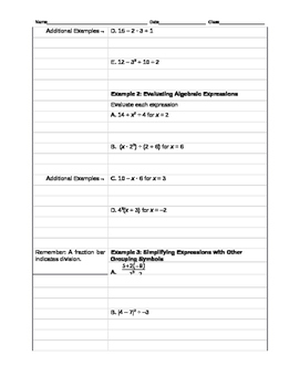 Holt McDougal Algebra 1 Sections 1.6 - 1.8 Notes and Classwork Packet