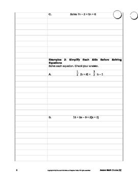 Holt McDougal Algebra 1 Sections 2.4 - 2.6 Notes and Classwork Packet