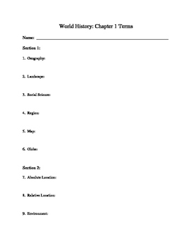 Holt McDougal Eastern World:  Chapter Terms Whole Book