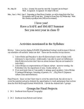 Holt McDougal Eastern World:  Fourth Quarter Syllabus