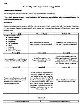 Holt McDougal Homework Choice Board-Gilded Age and Progressives Homework