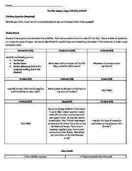 Holt McDougal Homework Choice Board-The War Begins