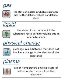 Holt Modern Chemistry, Matter and Change Chapter Vocabulary Word Wall Cards