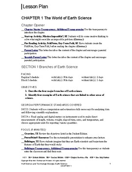 Holt Science and & Technology Georgia Chapter 1: The World of Earth Science