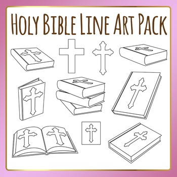 Holy Bible Clip Art / Line Art in Black and White for Comm