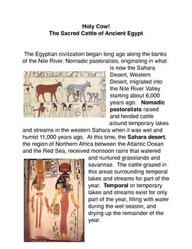 Holy Cow! The Sacred Cattle of Ancient Egypt Common Core activities