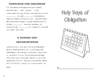 Holy Days of Obligation Booklet