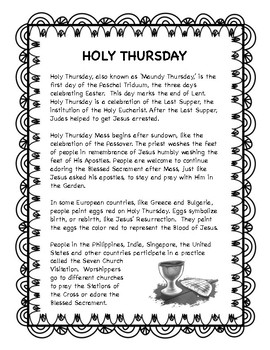 Holy Thursday -- Holy Week resource