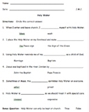 Holy Water Questions (Editable Assessment)