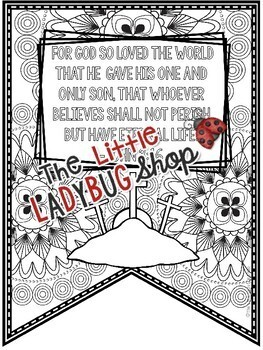 Christian Easter Bible Verses Coloring Teach- Go Pennants™- Easter Religious