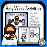 Holy Week Activities for Lent: Mini Book, Word Wall, Posters, Worksheets