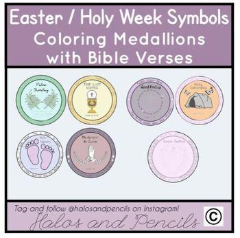 Holy Week/ Easter Prayer Medallions with Symbols Catholic/ Christian
