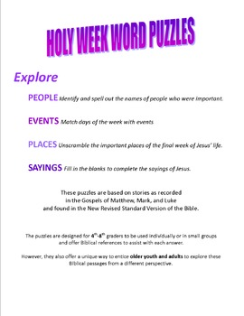 Holy Week Word Puzzles
