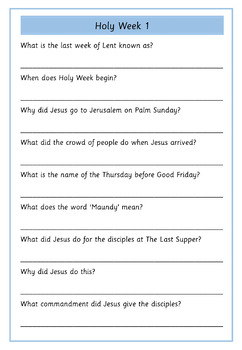 Holy Week and Easter Information Sheets and Comprehensions