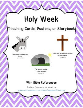Holy Week of Jesus Teaching Cards, Posters, or Storybook for Bible Learning