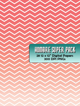 "Hombre Gradient Chevron Super Pack! 28 Digital Papers 12 x 12"" 300 DPI PDF"