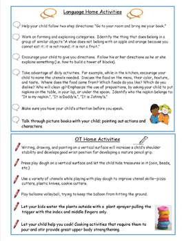 Home Activities Speech and OT