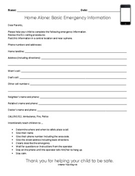 Home Alone Emergency Form
