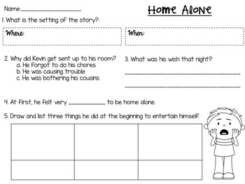Home Alone MEGA Literacy Unit ! **1st and 2nd Grade Common Core Aligned!**