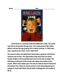 Home Alone - Movie - Review informational article facts questions vocabulary