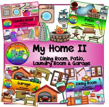 Home Clipart II (Patio, Laundry Room, Garage, Dining Room)