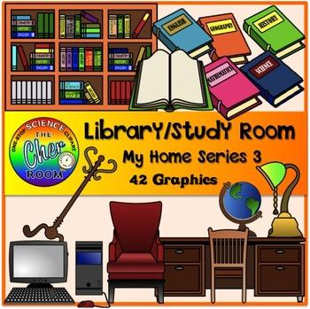 Home Clipart III (Yard, Nursery/Baby Room, Library/Study Room, Games Room)