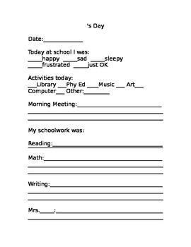 Home Communication Sheet
