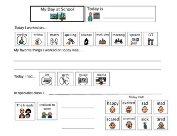 Home Communication Sheet - Autism VISUAL