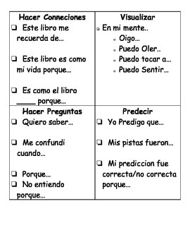 Home Comprehension Cards English and Spanish